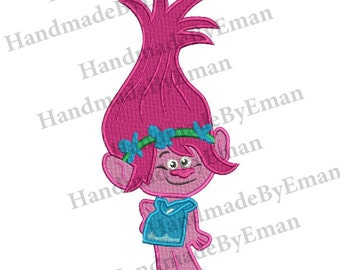 Poppy Trolls Filled Stitch Embroidery Design 3 sizes instant download