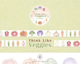Watercolor Masking Tape, Japanese Washi Tape, Think Like Veggies, Vegetables, Stationery, 10M