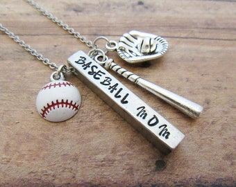 Personalized Baseball Mom Necklace - 4 Sided Bar - Hand Stamped Jewelry - Gift For Her - Mother's Day Mom Gift