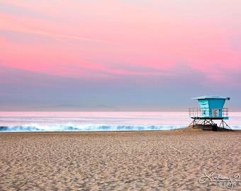 "Huntington Beach Wall Art | ""Lifeguard Stand #14"" at Sunrise | California Beach Photography | Ocean - Beach - Pink - Sunset - Ikea Ribba"