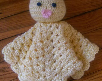 Crochet duck lovey, crochet duck lovie, duck security blanket, crochet duckling, Made to order