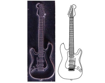 guitar fender stratocaster, musical instrument inspired printing stamp