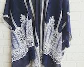 Navy Kimono with Lace Pattern