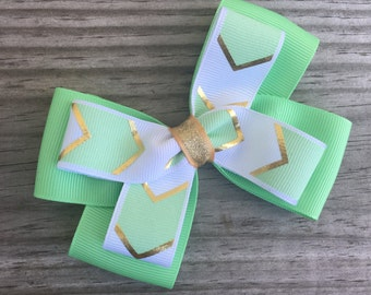 Mint Green Gold and White Bow