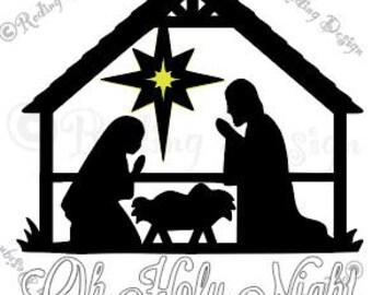 Oh Holy Night Nativity Scene SVG
