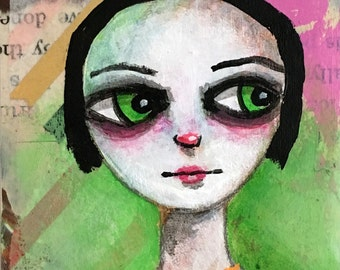 ACEO Original Mixed Media Painting of Girl with Big Green Eyes, Green and Pink Modern Art Card