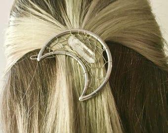 Moon dreamcatcher, dreamcatcher hair clip, dreamcatcher barrette, moon hair clip, moon barrette, quartz crystal, hair clip, crystal barrette
