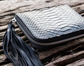 Black python wallet / Black leather wallet / Women's leather wallet / Black leather clutch / Black python clutch