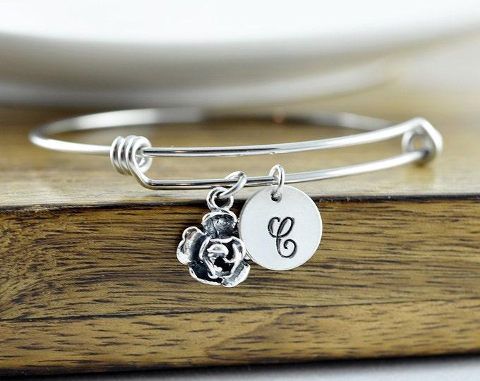 Sterling Silver Rose Bracelet - Rose Flower Bracelet - Personalized Bracelet - Sterling Silver Rose Charm - Flower Jewelry, Initial Bracelet
