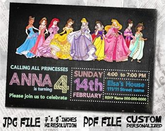 "Disney princess Birthday Invitation card , size 5""x7"" inches Birthday Party, Invitation card"