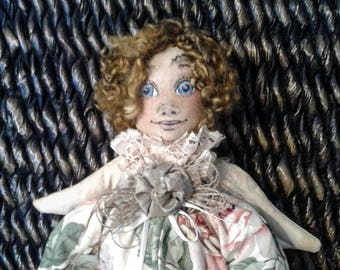 Angel Doll - Handmade Art Doll - Handmade Angel - Collectible Doll - Cloth Doll - Ooak Doll - Hand Painted Face - Angel Wings - Unique Doll