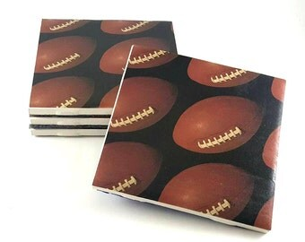 Football Coasters – Sport Coasters – Man Cave Decor – Drink Coasters – Superbowl Decorations – Gifts for Him – Ceramic Tiles Coasters