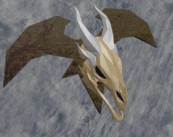 Skyrim Dragon skull pattern for pepakura papercraft to build your own