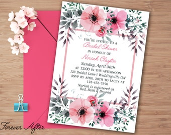 Printable Bridal Shower Invitation, Spring Bridal Shower Invite, Watercolor Invite, Floral Wedding Shower Invitation, DIY Printable