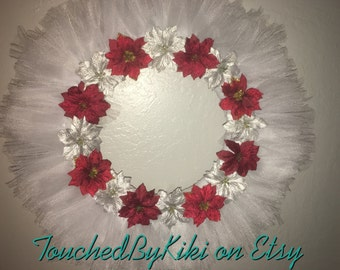 """20"""" Christmas Tulle Wreath, *Red and White Wreath, *Christmas Wreath, *Christmas Decorations, *Home Decor, *Holiday Wreath, *Tulle W"""