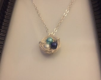 Blue Ombré Wire Wrap Nest Necklace