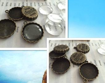 Wholesale 100 Pieces /Lot Antique Bronze Plated 18mm Coca-Cola bottle caps cabochon trays charms