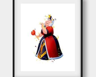 Alice in Wonderland, Queen of Hearts Print, Printable Queen, Queen of Hearts Art, Disney Art Print, Nursery Room Decor, Printable Art