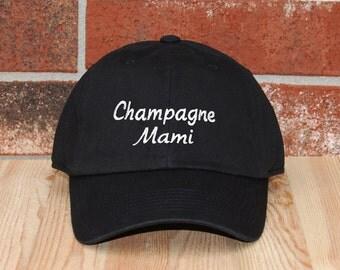 Champagne Mami Baseball Cap, Mami Black Baseball Cap, Unisex Baseball Cap, Embroidered Baseball Cap, Adjustable Baseball Cap