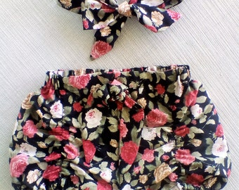 Pucker Shorts / Black floral /  Baby Girls Clothing / Toddler shorts / Childrens clothing / Made in Australia