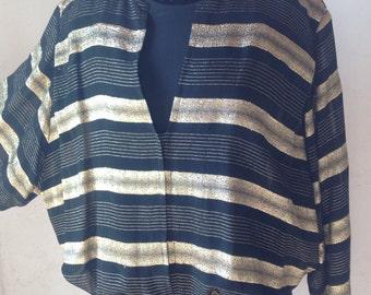 90s Blouses   striped lace silk Blouses   90s vintage blouses   Striped vintage blouses   black and gold blouses
