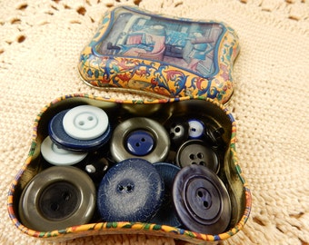 Vintage Buttons, Retro Tin, Blue Buttons, Black Vintage Buttons, Made in England