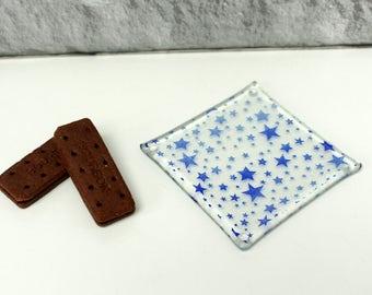 blue stars glass coasters - set of 4 - handmade fused recycled glass - melted glass coasters - royal blue star meteorite shower - UK maker