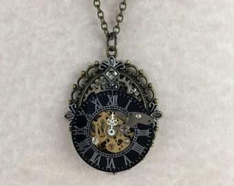 Steampunk Clockwork Brass Cameo Necklace