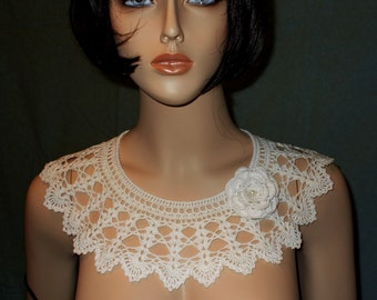 Knitting Pattern For Lace Collar : White crochet collar Etsy