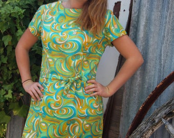 60's green and orange swirly patterned shift dress, with waist tie, Aus size 12 - 14