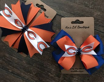 Chicago Bears Stacked or Spiked Bow