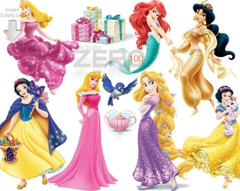 100 Disney Princesses Clipart, 300DPI PNG Images, Instant Download, Printable Iron On Transfer or Use as Clip Art - Princess Clipart