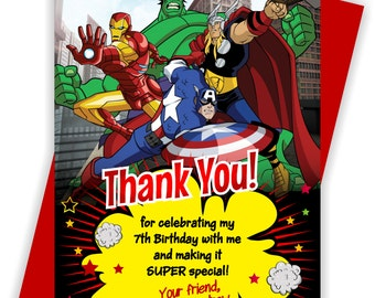 YOU PRINT - Avengers Birthday Thank you note, Avengers Thank you note, Avengers Thank you card, Super Hero thank you - THANKYOU5