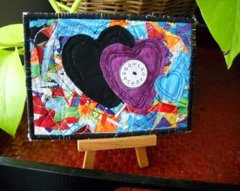 Time for Love 2, Fabric postcard, greeting card, all occasion card, Valentine's Day Card