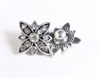 Clear crystal petal mini snap charm,compatible with other Mini snap jewelry,like magnolia mini snaps,dots snaps,petite Ginger mini snaps