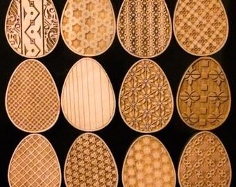 Artistic Modern Intricately Designed Dozen of Wooden Eggs - E63