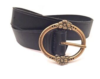 Vintage Leather Belt with Floral Brass Buckle