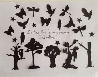 Fantasy die cut silhouettes - 17 pieces - Fairy jars/Fairy displays/Wedding cards/Birthdays/Mixed media