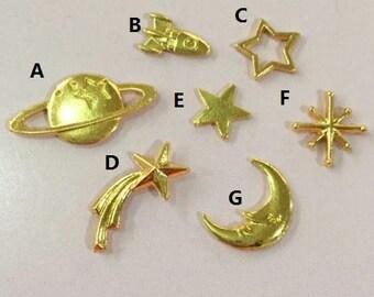 7 pcs Space Embellishment,Star embellishment,moon embellishment,embellishment for resin craft,cabochon,UV resin embellishment,resin cabochon
