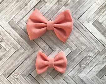 Orange Classic Bows - Bows or Bow Ties - Big Sister Little Sister Set - Baby Shower Gift - Baby Photography Props