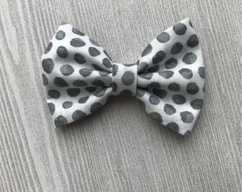 Gray Dotted Baby Headband - Baby bow - Bow ties for Boys - Baby shower Gift
