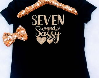 Seven And Sassy Birthday Outfit Girl 7 Birthday Shirt It's My Birthday Shirt 7 Birthday Outfit 7 Black Gold Birthday Outfit Birthday Shirt