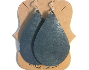 SALE!! Denim Color Leather Statement Earring