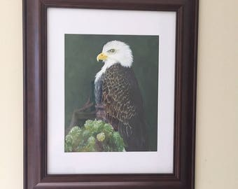An eagle on the branch , gouache,  gift, decoration