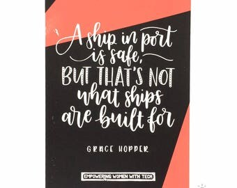 Screen printed poster of Grace Hopper quote