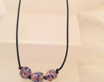 Murano Pink Glass Bead Cord Necklace