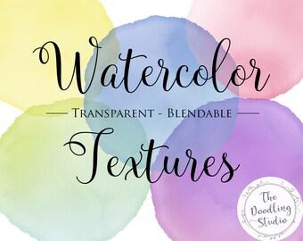 Watercolour Blob Textures - 10 COLORS (png, transparent, blendable)