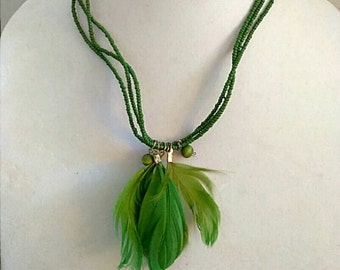 Green Beaded Feather Necklace, Vintage Necklace, Native American Feather Necklace, Handmade Feather Necklace, Feather Neckpiece,