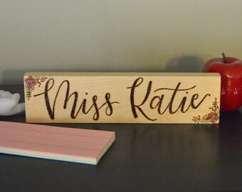 Custom Teacher Name sign | Teacher gift | Custom Woodburned sign