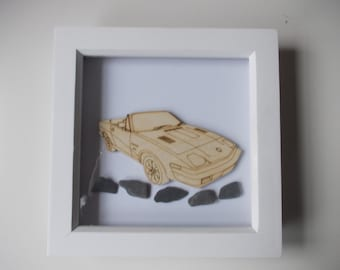 Triumph TR7 Picture -  Etched wood Triumph TR7 with Sea Slate in white frame
